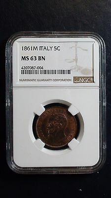 1861M Italy NGC MS63 Brown 5 Centesimi Coin