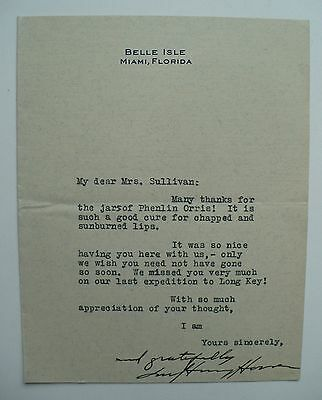 Autographed Note By Wife, First Lady Of President Herbert Hoover, Miami Florida
