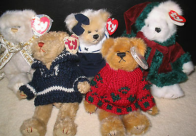 5 Vintage Ty Attic Treasures Jointed Bears Soft Toy Inc. Fraser + Bearkhardt