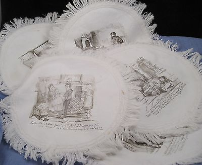 6 Victorian Cotton Place Mats Linen Lord Dundreary Our American Cousin Play