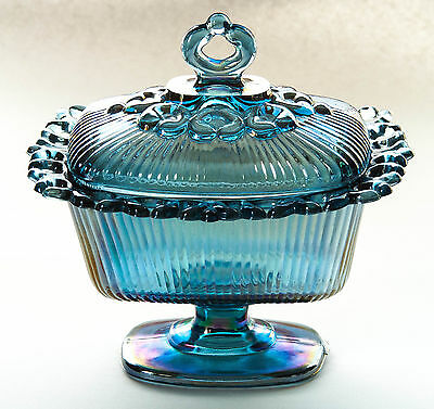 """Indiana Footed Blue Carnival Glass 6.75"""" Compote Lace Edge Iridescent Candy Box"""