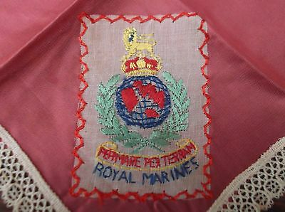 WW1 Handkerchief with embroidered badge of the Royal Marines