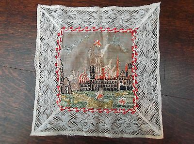 WW1 Handkerchief of large embroidered design of the Cloth Hall in Ypres burning