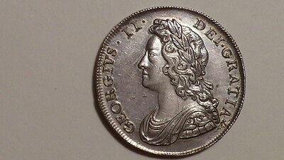 1739 Half-Crown.George 11.High Grade.Well Struck.Nice Tone.British Early Milled.