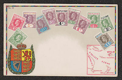 1920 Fiji Stamps Postcard With Emblem & Map Of South Pacific Ocean Islands