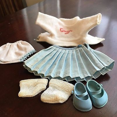 Ginger doll outfit blue tagged skirt Ginger white top Blue Underpants and More