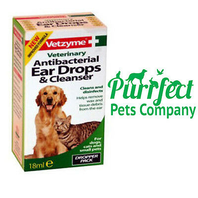 Dog Ear Drops Mites Treatment Vetzyme 18 ml Wax Cleanser Antibacterial