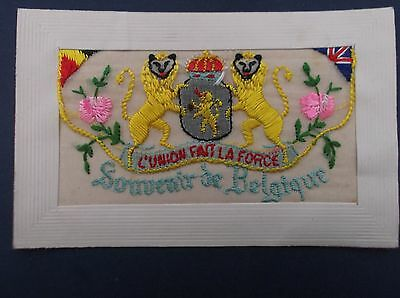 WW1 Embroidered  Silk Postcard : Belgian Lions