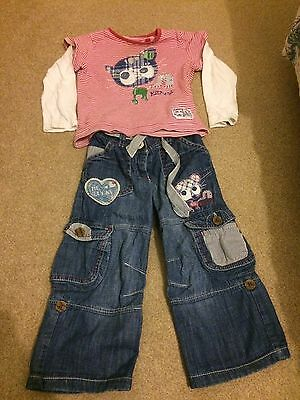 Girls Next Outfit : Jeans And Long Sleeved Top - Age 18 Months-2 Years