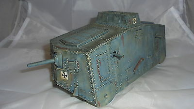 54mm hard plastic beautifully painted ww1 german A7 tank by weston figures