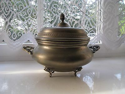 Vintage Italian Pewter Bowl With Lid