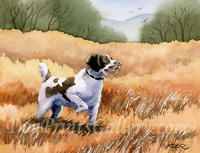 """""""BRITTANY SPANIEL POINTING"""" Watercolor Dog ART Print Signed by Artist DJR"""