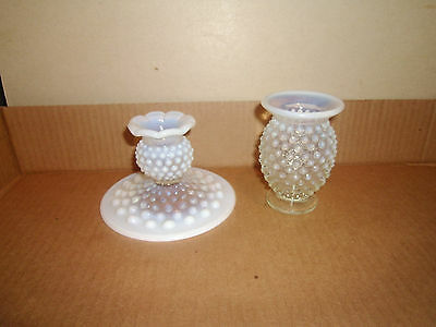 Vintage Depression/Opalescent Glass 2 Candle Stick Holders White #10 11