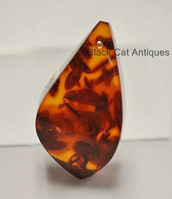 German Estate Find - Genuine Cognac Amber - Angular Polished Pendant 7 Grams