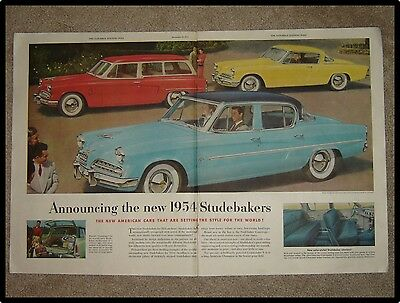 1953 Studebaker Car Ad ~ 2 Page Centerfold ~ Announcing 1954 Studebakers