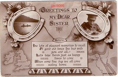 WW1 Real Photo postcard: greetings to his sister from a British soldier in Egypt