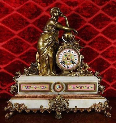 Antique 19thc French Japy Freres Figural 8day Mantle Clock with Sevres porcelain