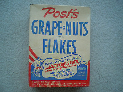 Post's Grape Nuts Flakes Cereal Box w/ Circus Premium 1940's Complete