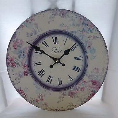 Shabby Chic Antique Style Rose Floral Printed Indoor Wall Clock 34cm Diameter