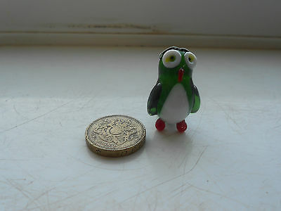 Owl - Glass - Cute And Collectable  Tiny Miniature Green And White Glass Owl
