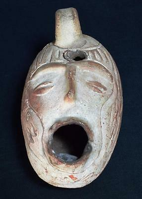 Unusual Pre-Columbian Style Head Shaped Pottery Oil Lamp