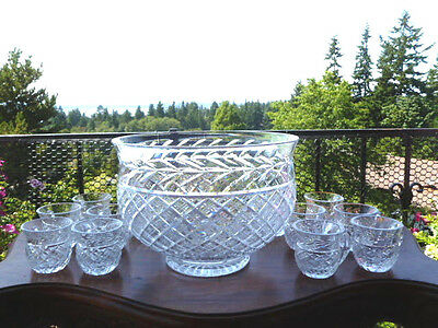 Waterford Crystal GLANDORE Punch Bowl with 12 Cups - Excellent - Free USA Ship