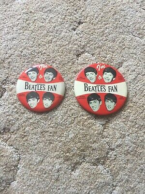 """Lot Of 2 I'm A Official Beatles Fan Buttons 4"""" And 3.5"""""""