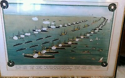 Lithograph, Victorian Navy Review for Queen Victoria's funeral, Spithead 1901
