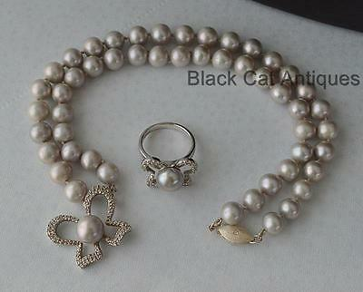 "Wonderful 18"" Genuine Gray Pearl Butterfly Necklace & Matching Ring Size 6.25"