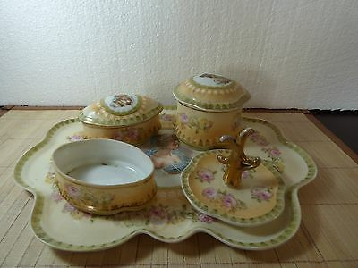 RARE Prussia Dresser Set w/Tray Lady Portraits #2782 For Alfred Pearce of London