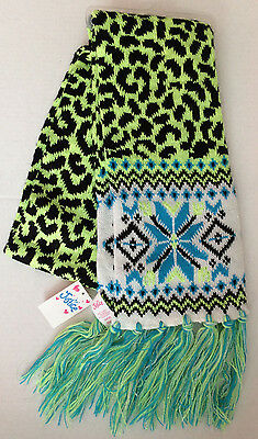 New Justice Girls Neon Grenn blue white shimmer scarf One Size