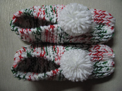 """New Amish Handmade Red/Green/White Sparkle Slippers Womans Sm Mans X Sm 8 1/4"""""""