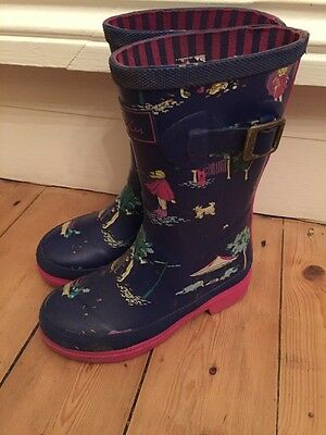Kids Joules Wellies Blue / Pink Girls UK Size 11