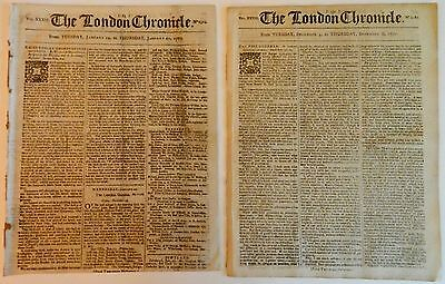 1770, 1773 THE LONDON CHRONICLE TWO COMPLETE, ORIGINAL NEWSPAPERS w/ GREAT ADS!