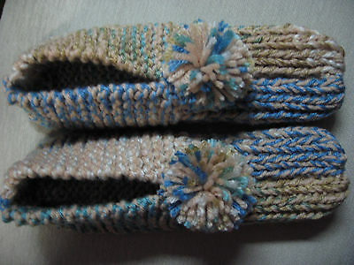 """New Amish Handmade Tan/Blue House Slippers Womans X Large Mans Large 10 1/4"""""""