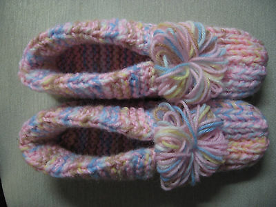"""NWOT Amish Handmade Knit Pink Pastel Mix House Slippers Mens Sm Womans Med 9"""""""