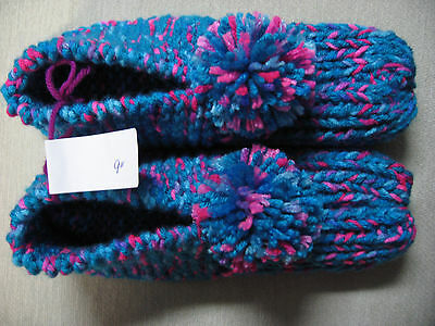 """NWOT Amish Hand Knit Turquoise/Pink Mix House Slippers Mens Sm Womans Med 9"""""""