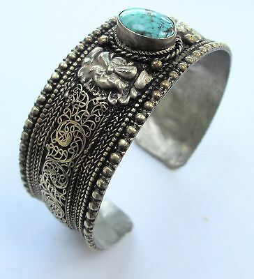 Good ornate vintage silver metal & turquoise cuff bracelet