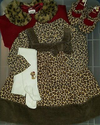 Infants baby girl Gymboree Glamour Kitty dress shirt shoes size 3-6 months