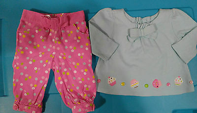 Infants baby girl Gymboree Cupcake Cutie shirt & pants size 0-3 3-6 months