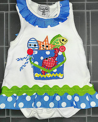 Infants baby girl Mudpie one piece romper outfit size 0-9 months
