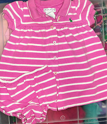 Infants baby girl Ralph Lauren Polo pink striped dress & bloomers size 6 months