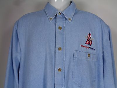 American Airlines Flight Attendant Blue Chambray Shirt Size Large Button Front