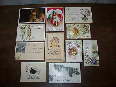 Antique Vintage Valentines Day Cards Post Cards lot of 11 Early Valentine 1903
