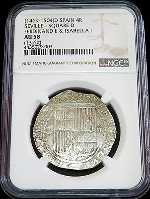 1469 -1504 D Spain 4 Reales Ferdinand Ii & Isabella Coin Ngc About Unc 58