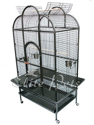 Large Parrot Cage African Grey Amazon Cockatoo Open Dome Top A23 Charcoal Grey