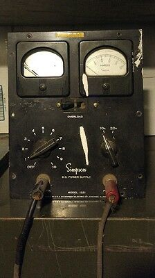 Vintage Simpson 1221 variable dc power supply (electroplating?) as is