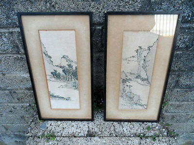 Pair of Chinese paintings - Republic period ink and watercolour paintings .