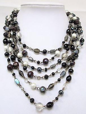 Good vintage 6 row pearl, French jet & glass bead necklace
