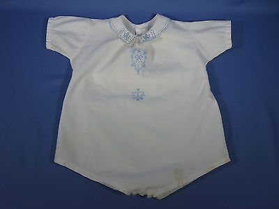 Vintage 1940's BABY BOY ROMPER ~ Blue Embroidery Detailed Front